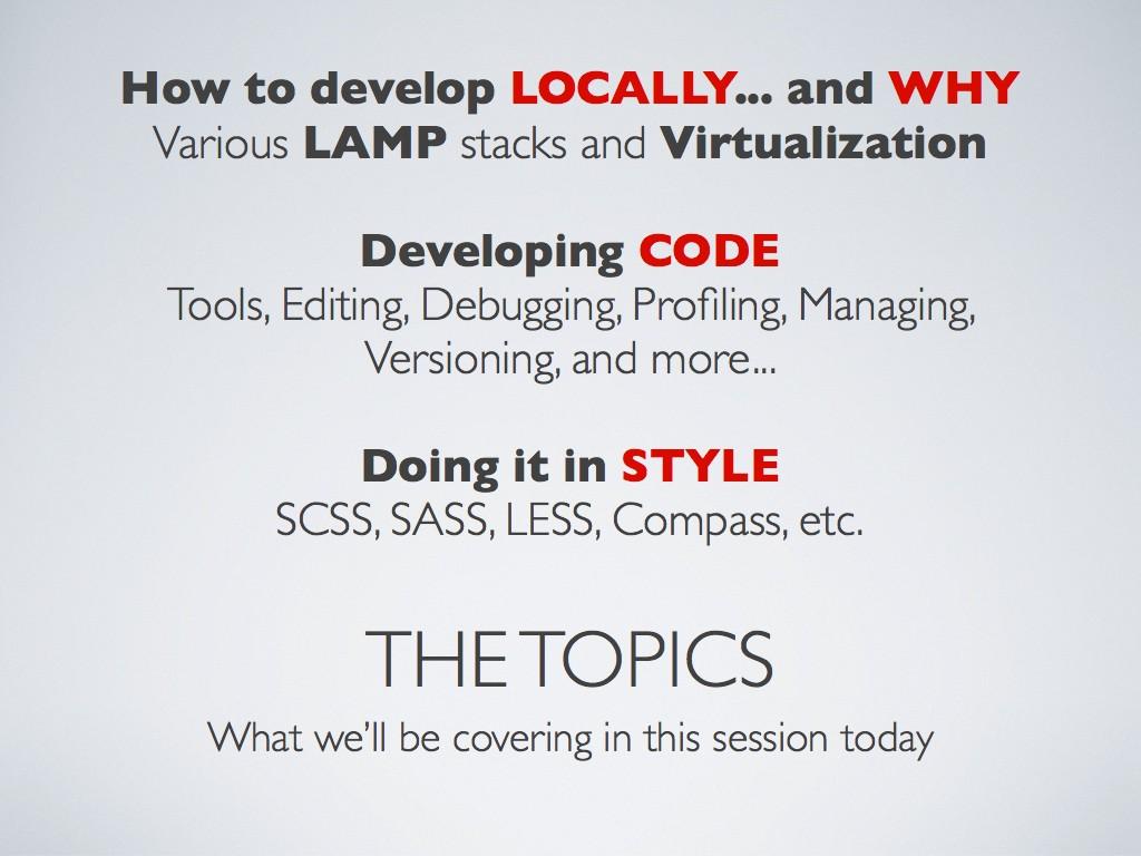 A real developer presentation slide index